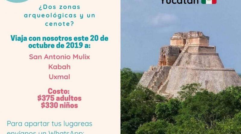 Excursíon Cenotes de San Antonio Mulix, Z.A. de Kabah y Z.A. de Uxmal 20 de Octubre del 2019